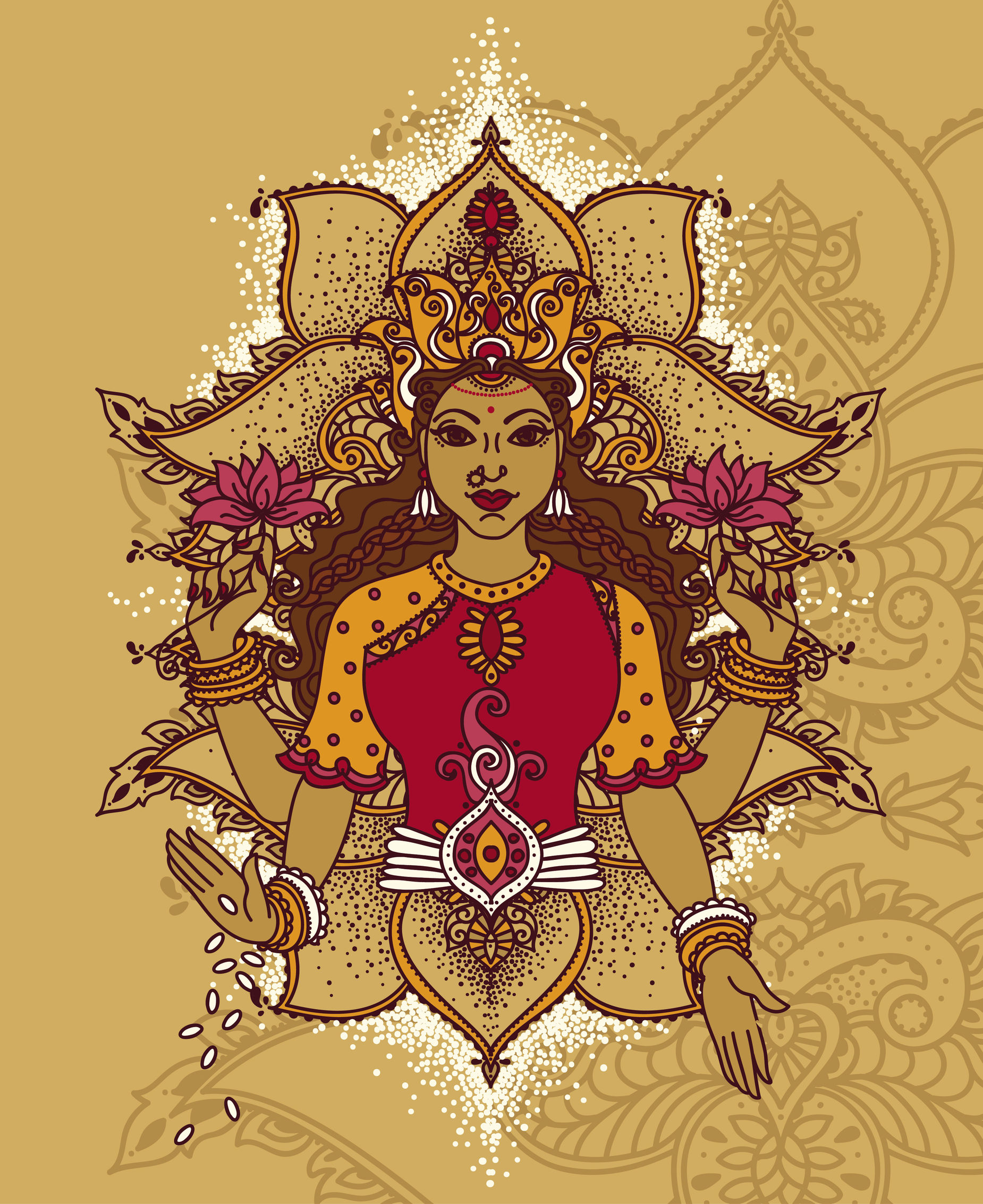 Indian goddess Lakshmi and royal ornament, can be used as a card for celebration Diwali festival