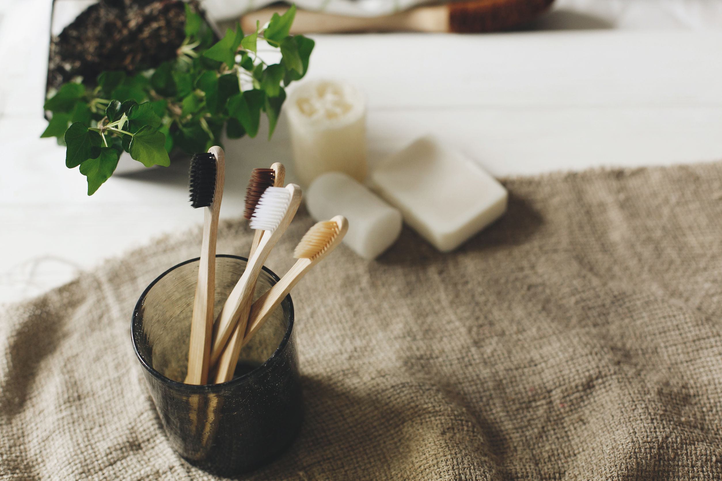 eco natural bamboo toothbrushes in glass
