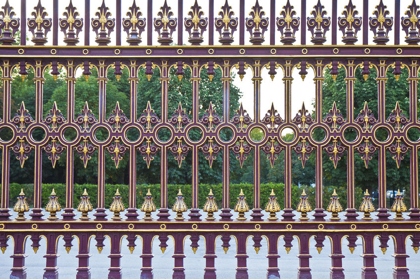 Cast iron grille gates, not ideal for the outdoors as they rust easily.