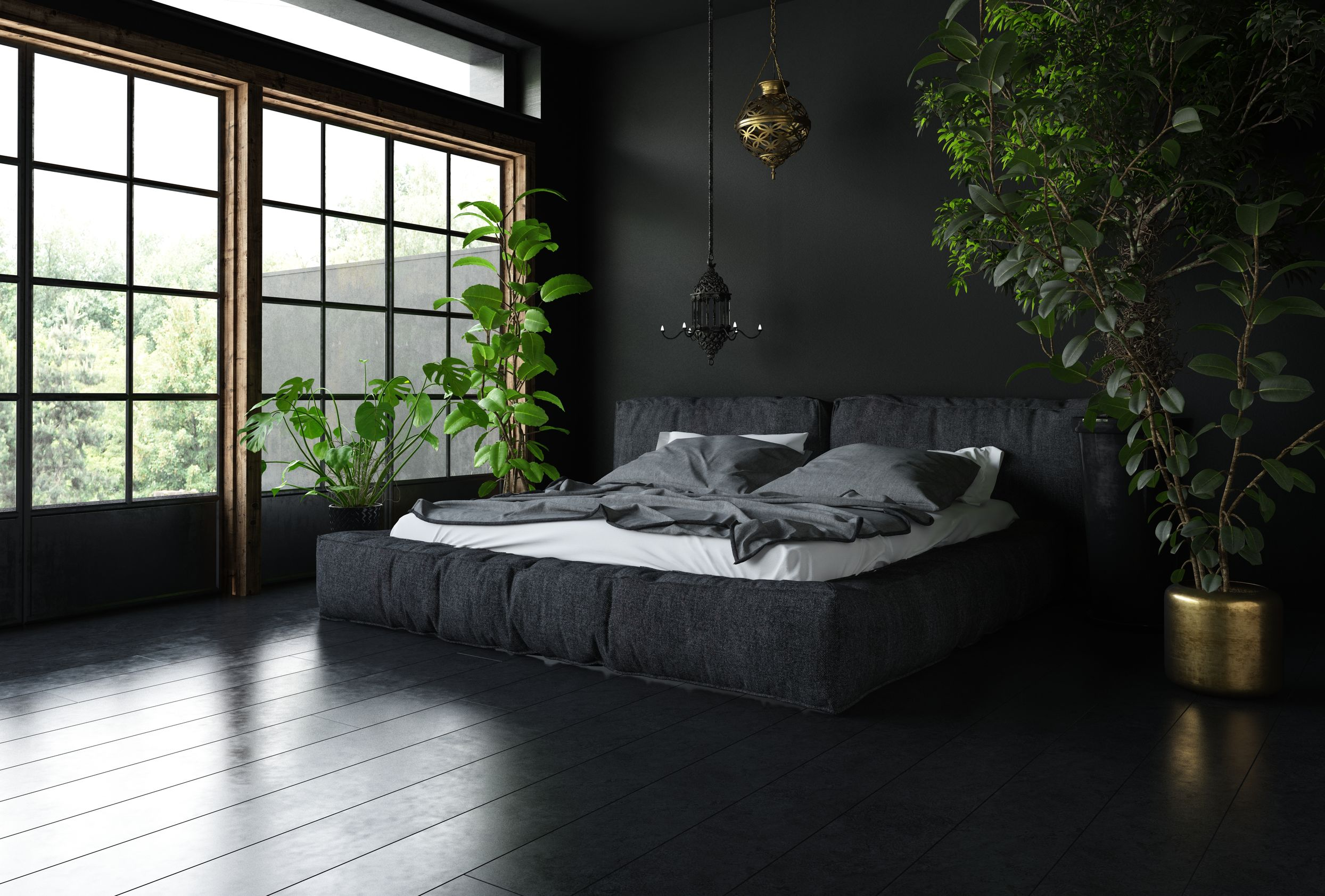 Bedroom in black style