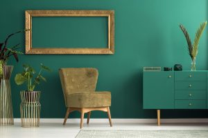 Teal sideboard in luxurious interior