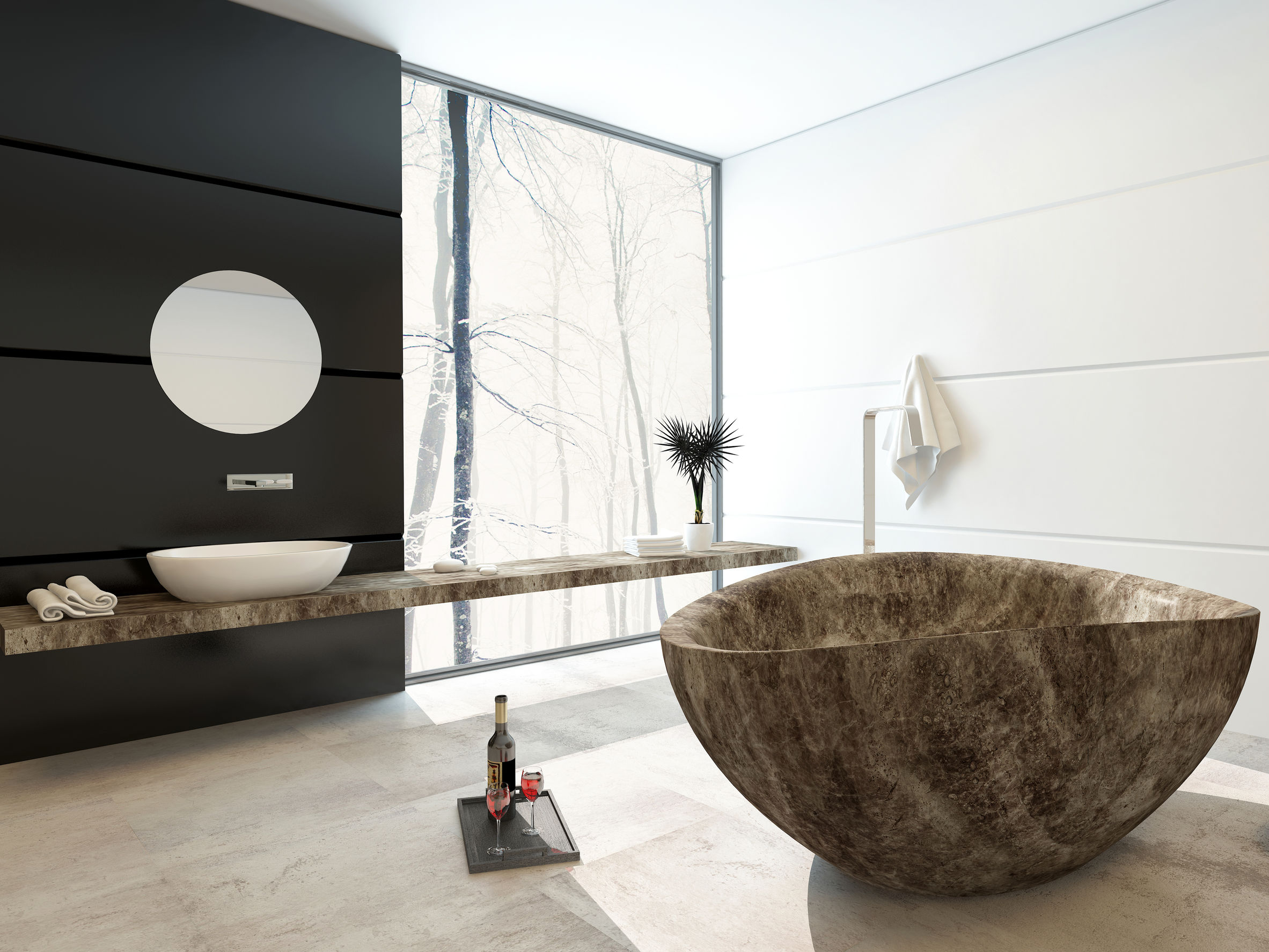 Modern marbled bathtub in a luxury bathroom