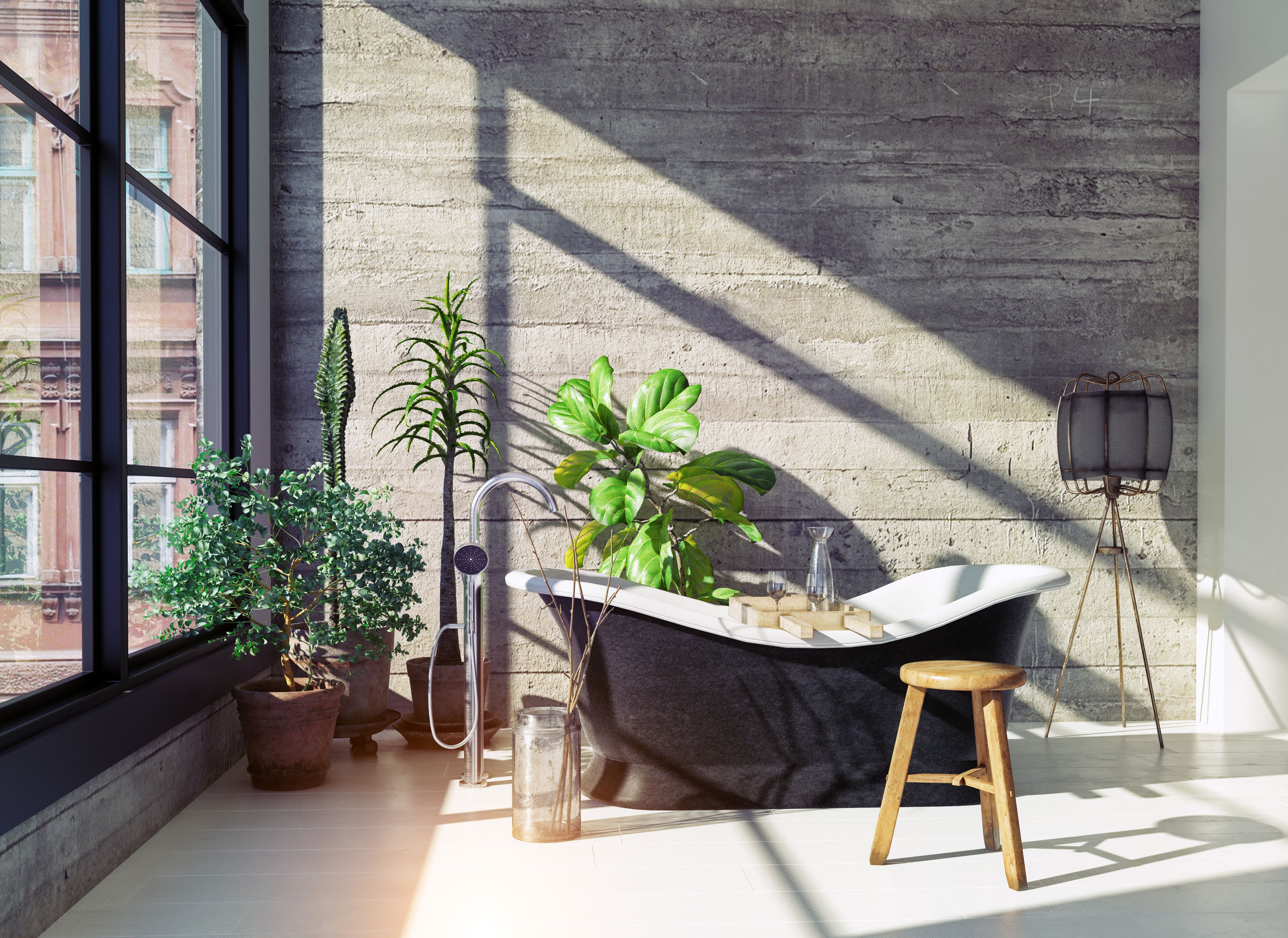 modern bathroom interior with indoor plants and bathtub