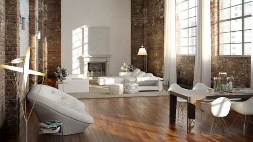 Big and comfortable living room in a loft apartment with bright sofa