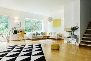 Living room with yellow accents