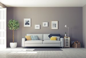 modern interior with brown wall