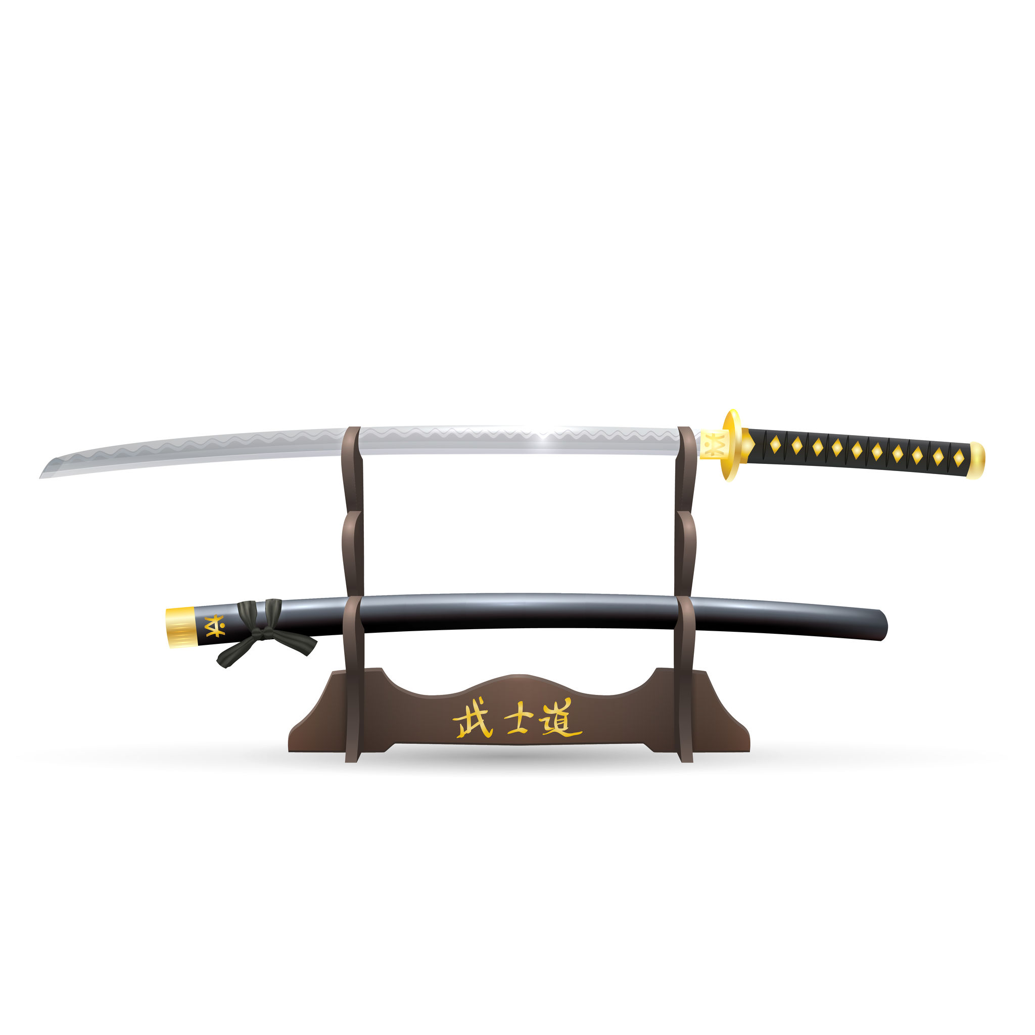 Realistic Samurai Sword and Scabbard on the Stand