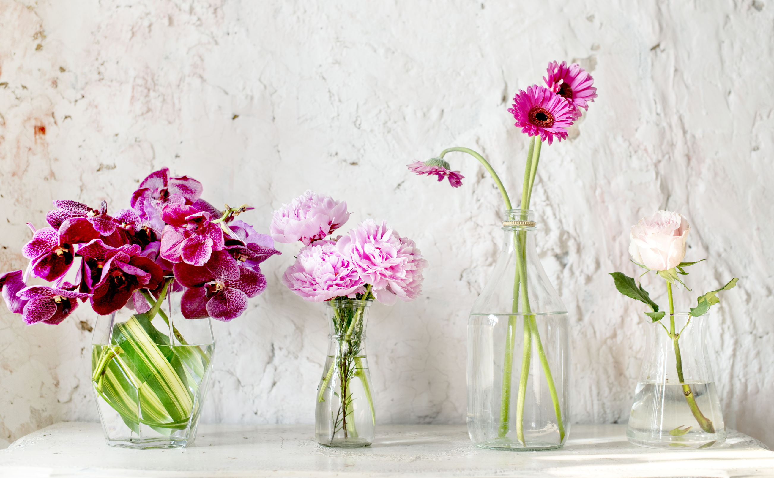 row of glass vases with flowers