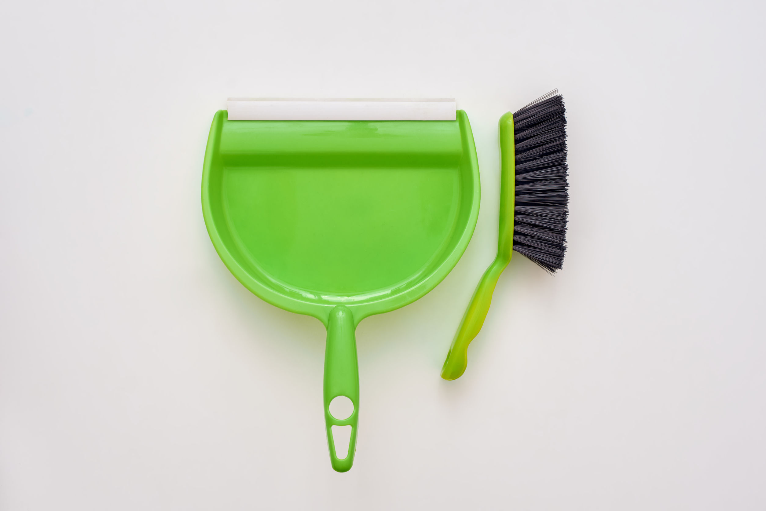 Floor cleaning tools. Brush and dustpan