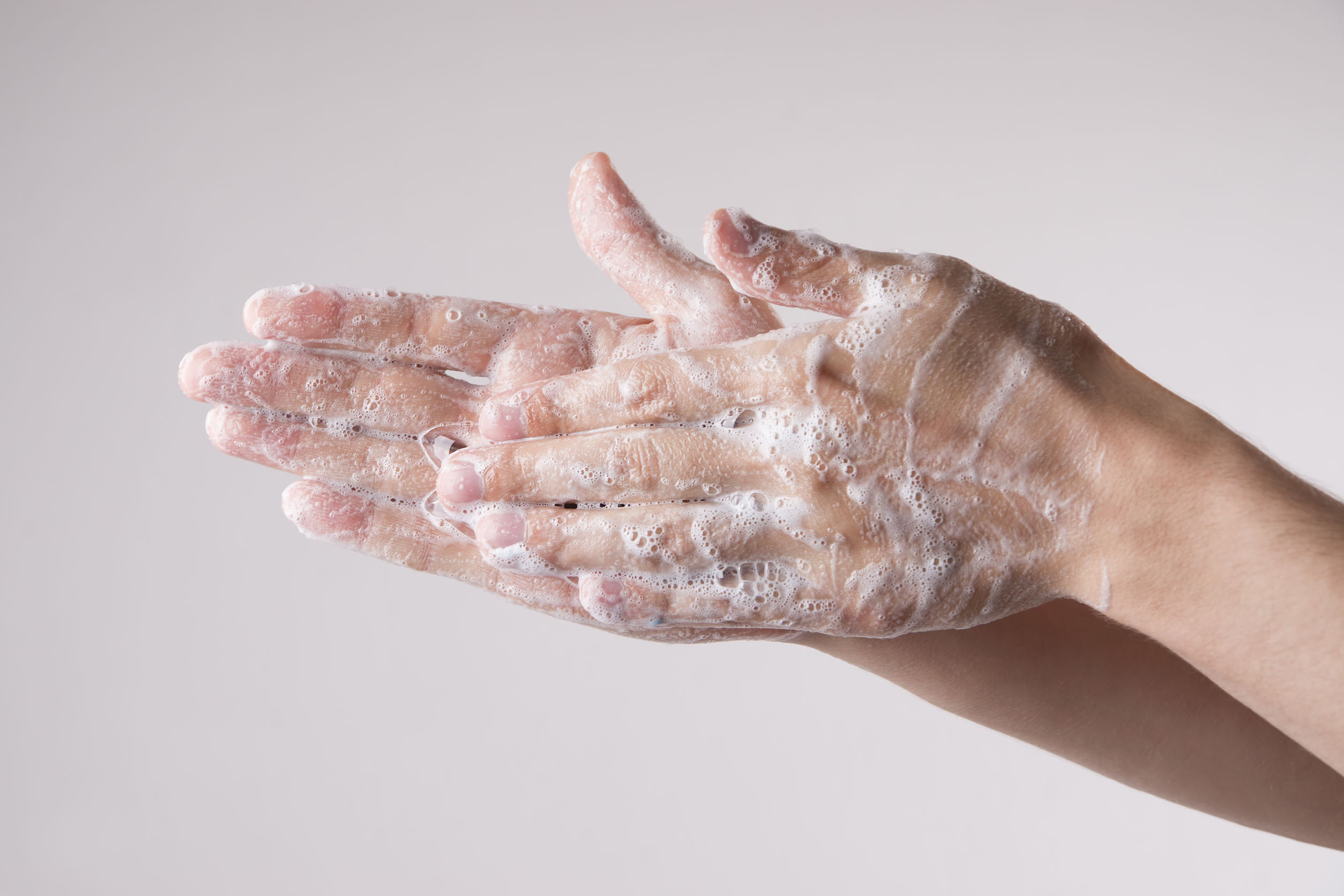 washing hand with soap and water
