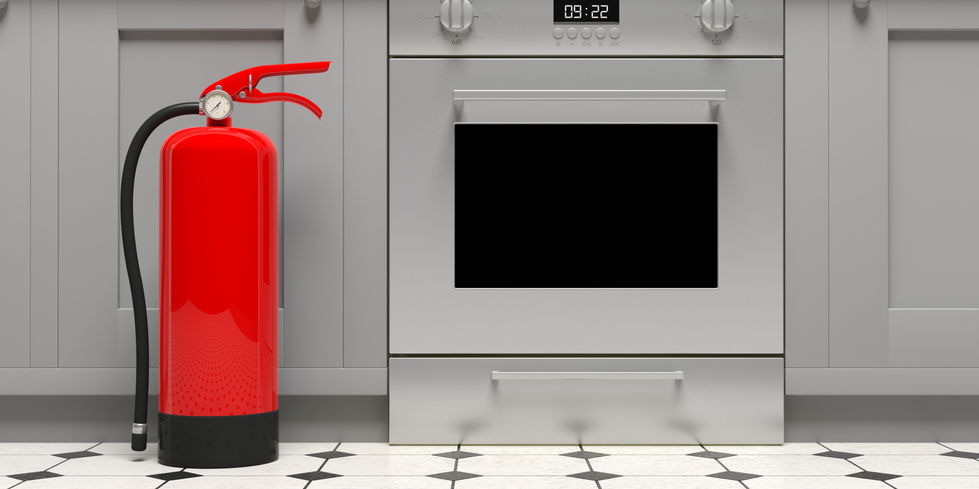 Fire extinguisher in the kitchen