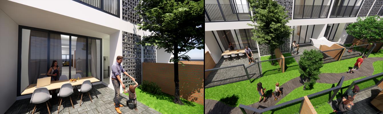 landscaped back lane terrace house