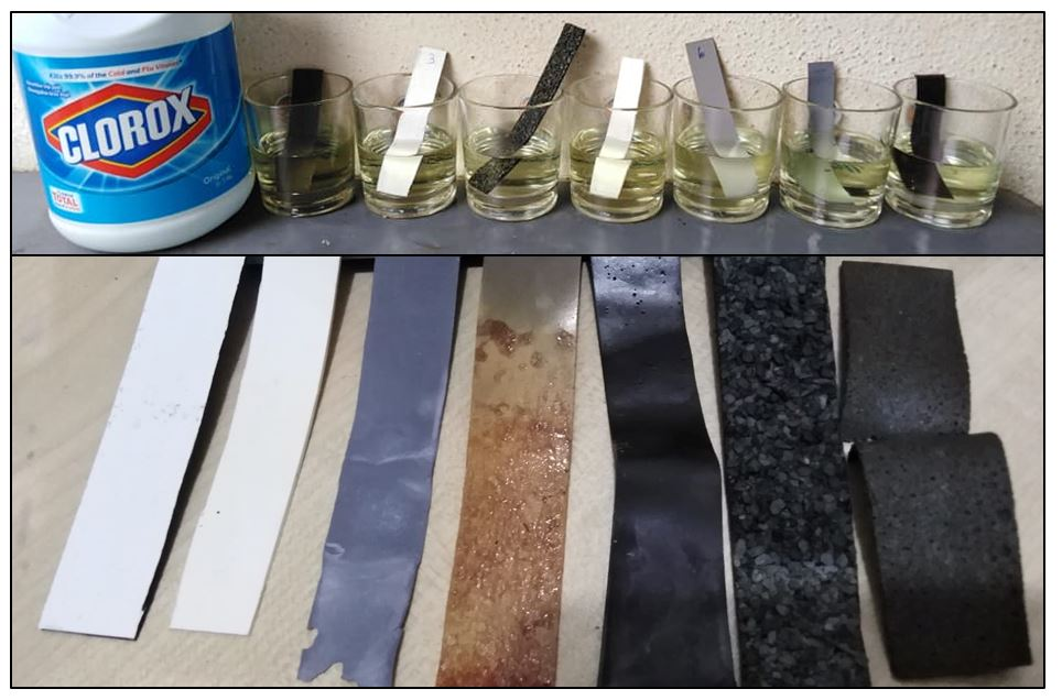 bleach test for waterproofing membrane