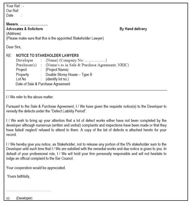 sample letter to lawyer to claim defect repair cost